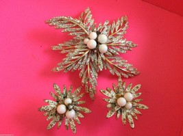 VTG GOLD TONE METAL ENAMEL CRYSTAL  FLOWER STAR  EARRINGS & PIN BROOCH SET - $35.64