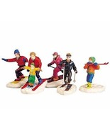 Lemax Village Winter Skiers Fun Figurines Set of 5 - $13.99