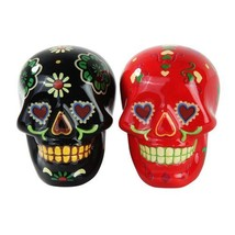 1 X Day of Dead Sugar Black & Red Skulls Salt & Pepper Shakers Set- Skul... - $12.86