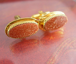 Elegant Wedding Cufflink Set Exquisite Red Goldstone Vitality and Energy... - $110.00