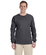 Dark Heather L Long sleeve Gildan ultra cotton T-shirt 2400 G240 G2400 - $10.00