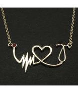 Nurse Practitioner Heart Beat Stethoscope Necklace - EKG, ECG, , Registe... - $52.00