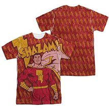 Simply Superheroes Mens shazam bolts sublimation mens t shirt Large - $30.99