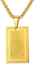 Islamic Quran Inscription Square Pendant 18K Stamp Gold Plated Chain Muslim - $39.10