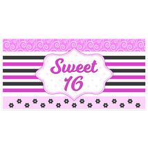 Pink and Black Striped Sweet 16 Sixteen Birthday Banner - $22.28
