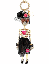Betsey Johnson Skeleton Bride necklace pendant Fashion Jewelry Creep Sho... - $69.99