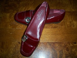 Women's/Ladies Coach Tia Patent Leather Burgundy Red Loafers/Flats Button Logo - $39.99