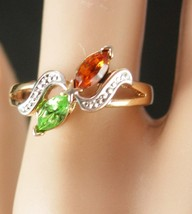 I Love You sweetheart Ring Vintage Sterling Silver size 7 1/2 Two Stones Peridot - $45.00