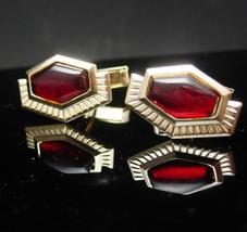 Vintage Cufflinks Red deco Elegance Large Rhinestones Sunday Dress Wear gold cuf - $55.00