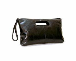 Black Open Handle Clutch Wrist Strap Elegant Handbag - $29.80 CAD