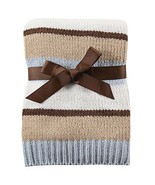 Blue-Grey White Brown Tan Striped unisex baby Chenille Crib Swaddling Bl... - €20,80 EUR