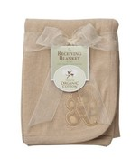 Light Brown Tan Teddy Bear Embroidered Baby Receiving Blanket - Unisex B... - €17,46 EUR