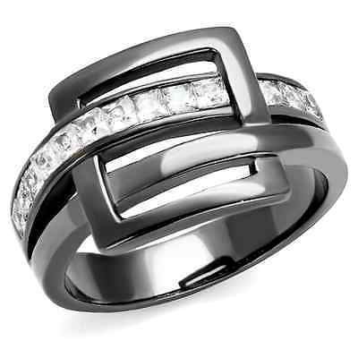 Women's Gray Stainless Steel Designer Buckle Crystal Fashion Ring Size 5 - 10