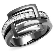 Women's Gray Stainless Steel Designer Buckle Crystal Fashion Ring Size 5... - $16.65