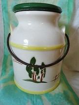 Vintage MILK CAN shaped Cookie Jar with lid metal handle - $23.36