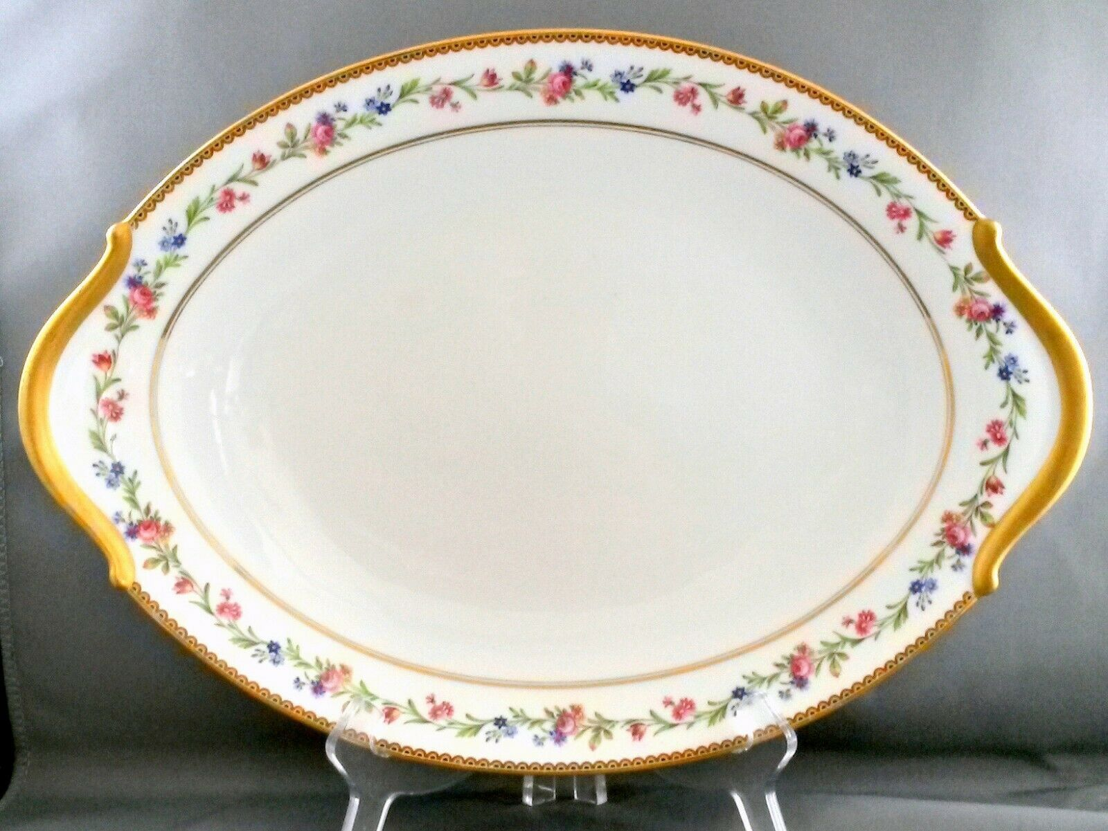 Primary image for Raynaud Country Flowers Oval Platter Limoges Porcelain White Floral Gold 16""