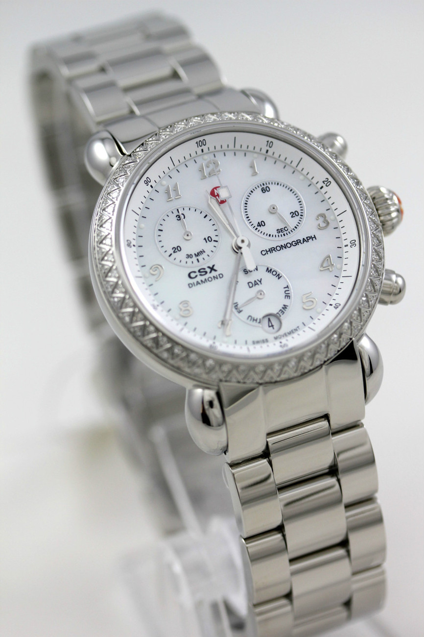 Primary image for MW03M01A1025 Michele CSX 100 Diamond watch 36mm chronograph date pearl dial