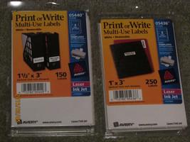 2 Pkgs Avery Multi Use Labels Print Or Write White  1 X 3 & 1 1/2 X 3 - $7.70