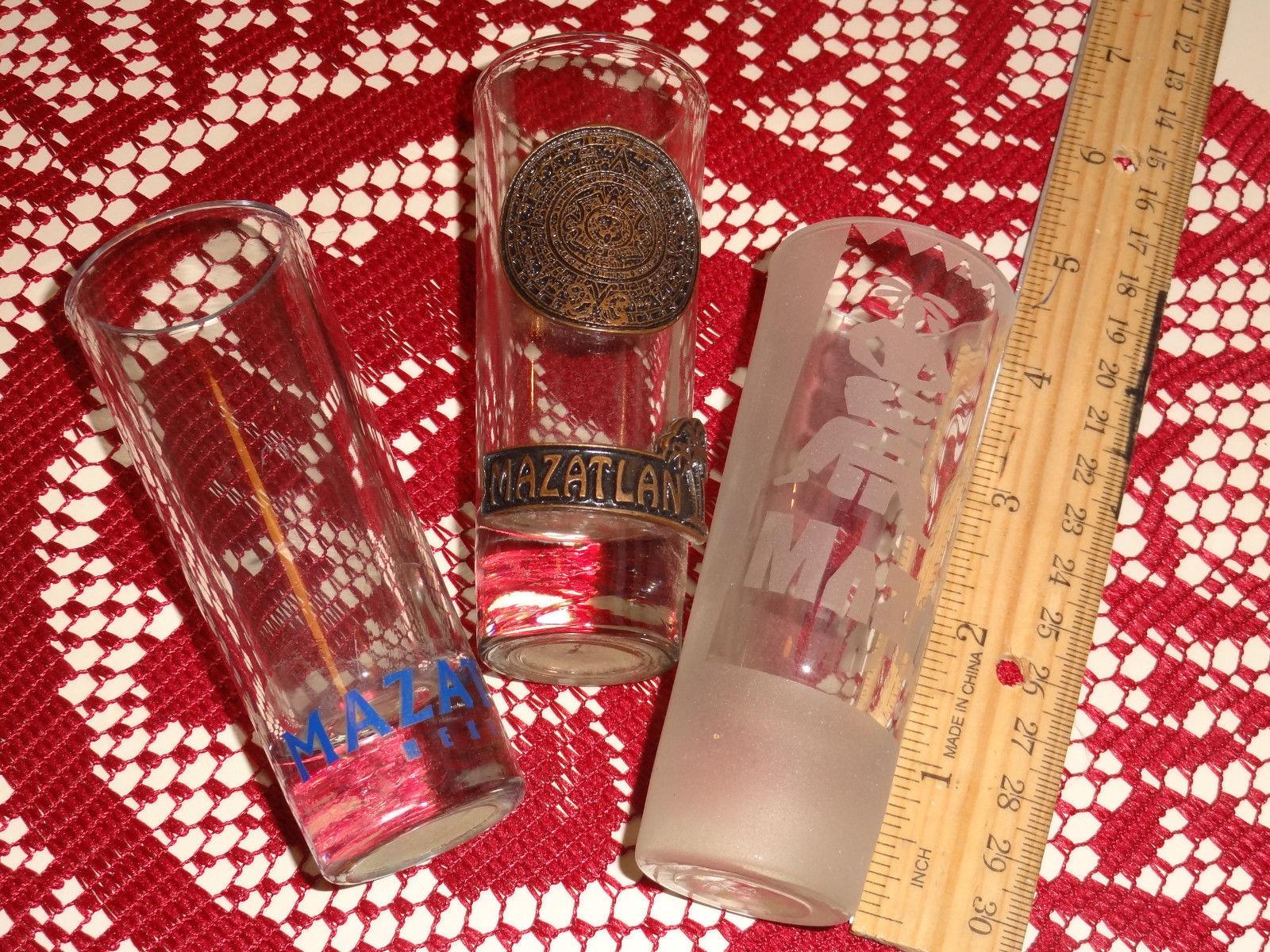 "shot glasses,  3 from MATZATLAN, 4"" tall - $9.50"