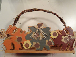 FALL WOODEN BASKET, vine handle, hand painted, straw bows, brown, green, orange - $2.45