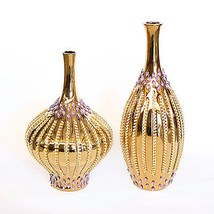 Crystals and Gold Metal Set of Two Vases. - $262.35