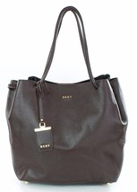 DKNY Donna Karan Dark Brown Leather Shoulder Shopper Bag Medium Handbag - $188.01