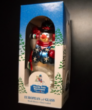 Santa's Best Christmas Ornament North Pole Snowmen European Style Glass Boxed - $12.99
