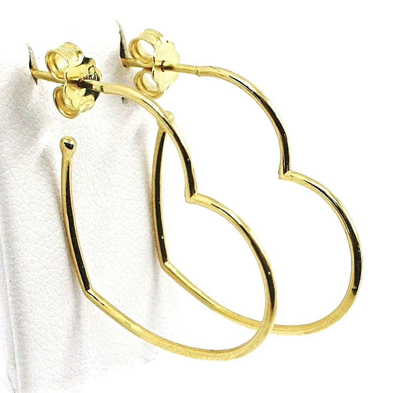 18K YELLOW GOLD PENDANT HEART EARRINGS, 1.1 INCHES LENGTH, MADE IN ITALY