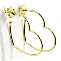 18K YELLOW GOLD PENDANT HEART EARRINGS, 1.1 INCHES LENGTH, MADE IN ITALY image 1