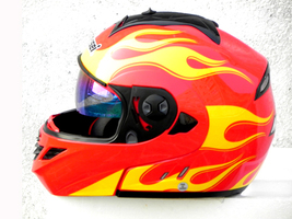 Masei 822 Red Yellow Fire Flip Up Motorcycle Helmet image 3