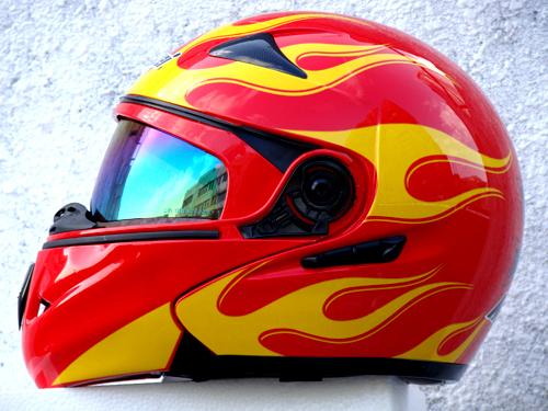 Masei 822 Red Yellow Fire Flip Up Motorcycle Helmet