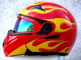 Masei 822 Red Yellow Fire Flip Up Motorcycle Helmet - $199.00