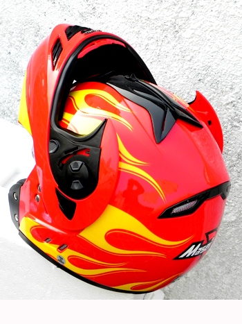 Masei 822 Red Yellow Fire Flip Up Motorcycle Helmet image 5