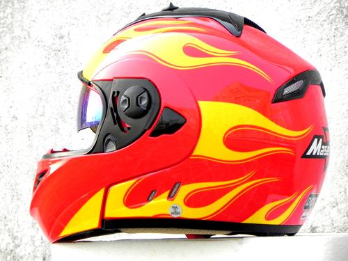 Masei 822 Red Yellow Fire Flip Up Motorcycle Helmet image 4