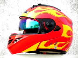 Masei 822 Red Yellow Fire Flip Up Motorcycle Helmet image 2