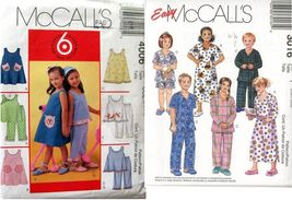 Girl's Dresses, Tops, Pants and pajamas Mccalls 4006 & 3016 Sz 3,4,5, 6,... - $2.00