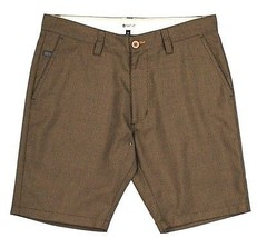 Matix HOUND DOG Mens Micro Houndstooth Shorts Size 34 Waist Khaki NEW - $55.00