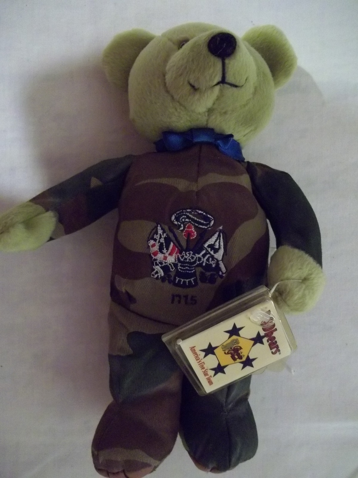 "8"" Valor  DOD  Army Plush Bear with Camoflauge Outfit - New With Tag"