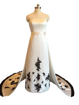 Rosyfancy 1950s Sabrina Hepburn Inspired Black Trimmed Embroidery Weddin... - $275.00