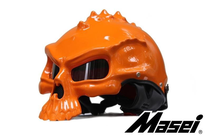 Masei 489 Orange Skull Chopper Motorcycle Helmet