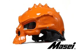 Masei 489 Orange Skull Chopper Motorcycle Helmet image 2