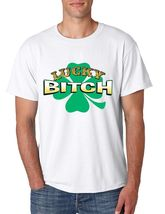 Men's  Tee Shirt Saint Patrick's Day Lucky Bitch Shamrock Irish Shirt - $17.00