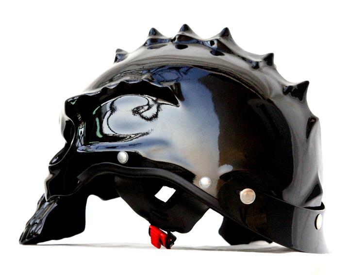 Masei 489 Glossy Black Skull Chopper Motorcycle Helmet image 3