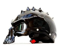 Masei 489 Glossy Black Skull Chopper Motorcycle Helmet image 2
