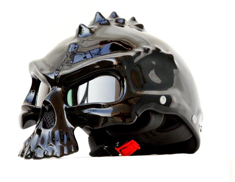 Masei 489 Glossy Black Skull Chopper Motorcycle Helmet