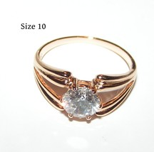 Rose Gold Solitare White Topaz Ring Free Shipping - $20.00