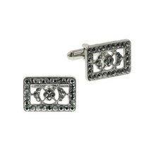 Silver-Tone Hematite Color Crystal Rectangle Cuff Links - $48.00