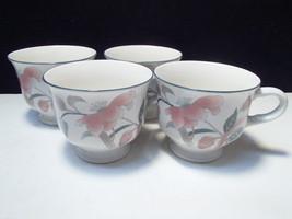 4 Mikasa Silk Flowers Coffee / Tea Cups~~~nice set - $12.95