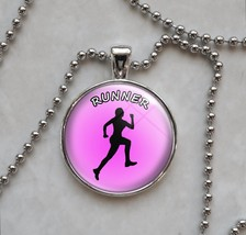 Runner Woman Girl Love to Run Motivation Choose Quote Pendant Necklace - $14.00