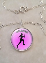 Runner Woman Girl Love to Run Motivation Sterling Silver Small Pendant N... - £18.29 GBP